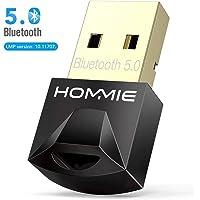 Adaptador de Bluetooth 5.0,Hommie Bluetooth USB PC Window7/8/8.1/10, Adaptador Bluetooth para Auricular/Altavoz/Ratón/Teclado,Buletooth USB Plug y Play Emisor Receptor EDR y 4.0BLE Tecnología