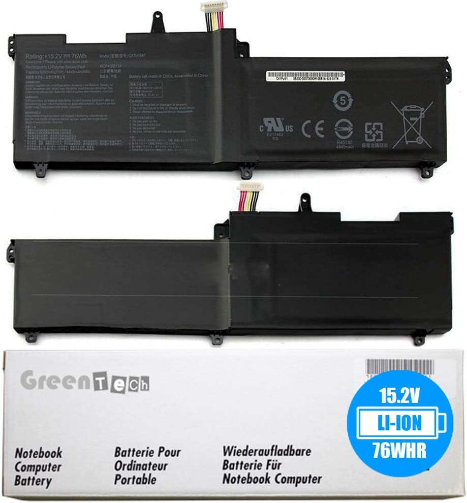 GreenTech New C41N1541 Replacement Battery for Asus ROG Strix GL702 GL702VW GL702VS GL702VSK GL702VT GL702ZC - Li-Ion 15.2V 76WH 4 Cell Battery 0B200-02070000 C41Pp91 0B200-02070000M