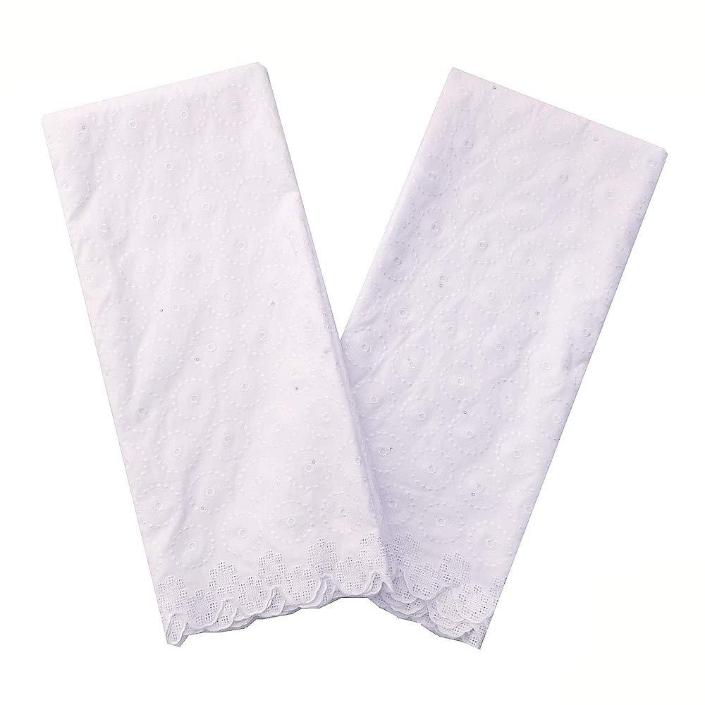 LadyQ New Arrivals Latest Nigerian Lace Fabric 2019 White Swiss Voile Lace in Switzerland Dry African Fabric Lace Material (White 2) by LadyQ