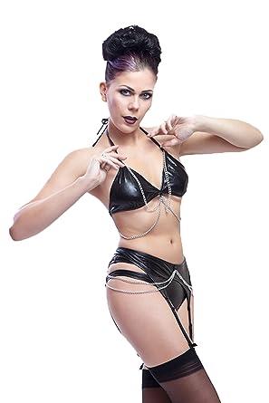 size 40 56559 e1329 Lycra Dessous Set: BH mit Ketten, Strapsgürtel und Hot Pants ...