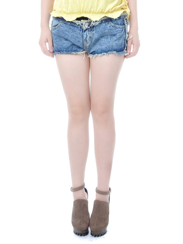Anna-Kaci S/M Fit Denim Blue Jean Ultra Frayed Cuff Light Wash Shorts Bottoms