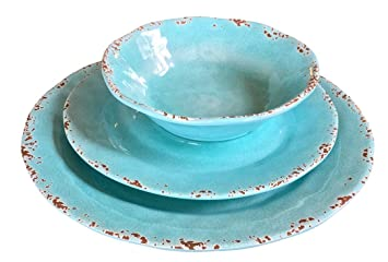 Il Mulino Designer 12 Piece Heavy Weight Durable Melamine Dinnerware Set for 4 (Turquoise Water  sc 1 st  Amazon.com & Il Mulino Designer 12 Piece Heavy Weight Durable Melamine Dinnerware Set for 4 (Turquoise Water)