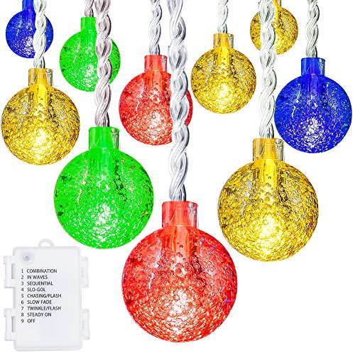 Globe-String-Lights-Oak-Leaf-20-feet-30-LEDs-IP44-Waterproof-Crystal-Ball-LED-Fairy-String-Lights-with-8-Modes-Battery-Operated