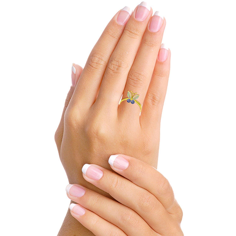 ALARRI 0.7 Carat 14K Solid Gold Butterfly Ring Opal Tanzanite