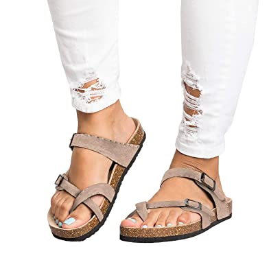 9802ed08d FISACE Womens Cross Toe Flat Sandals Double Buckle Strap Summer Beach  Sandal Shoes (5 M