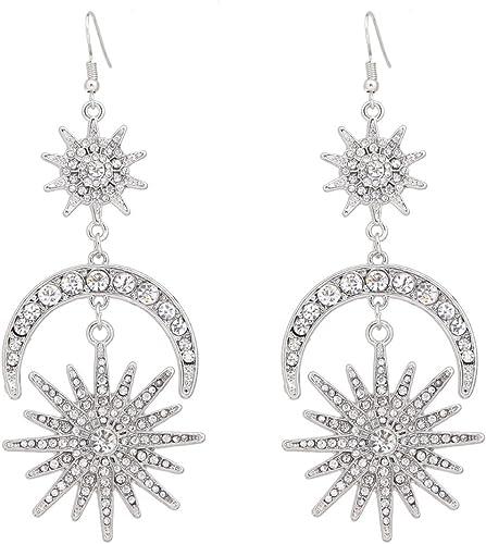 Rhinestone Asymmetry Long Drop Earrings Bridal Party Dangle Jewelry 8C