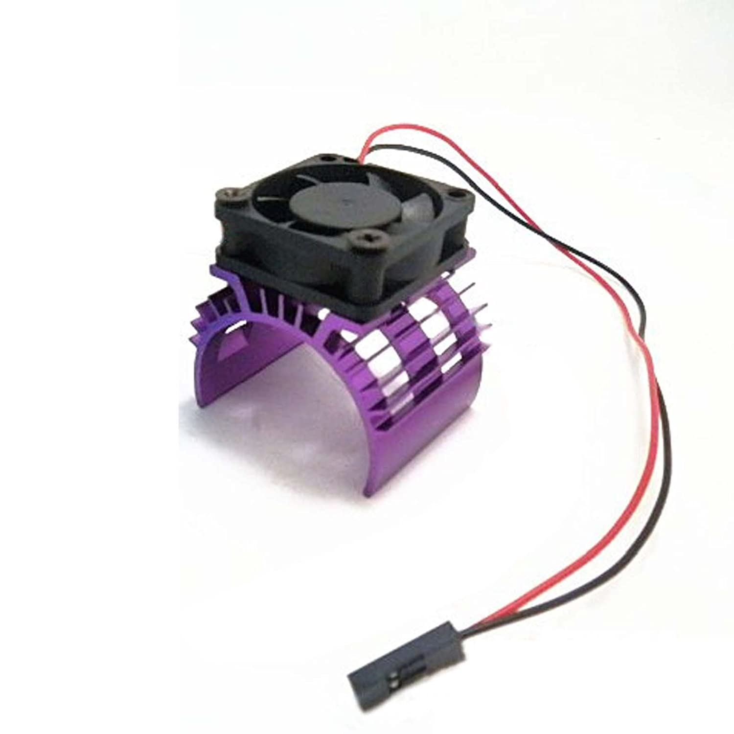 Hobbypower Alloy Heatsink with 5v Cooling Fan for 1/10 RC Model Car 540 550 3650 Size Motor(Purple)