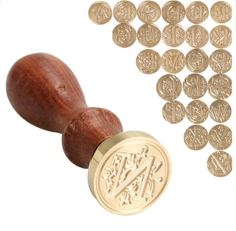 Y 1X Toruiwa Wachssiegel Wachs Holzgriff Siegel Stempel 26 Letter A-Z Alphabet