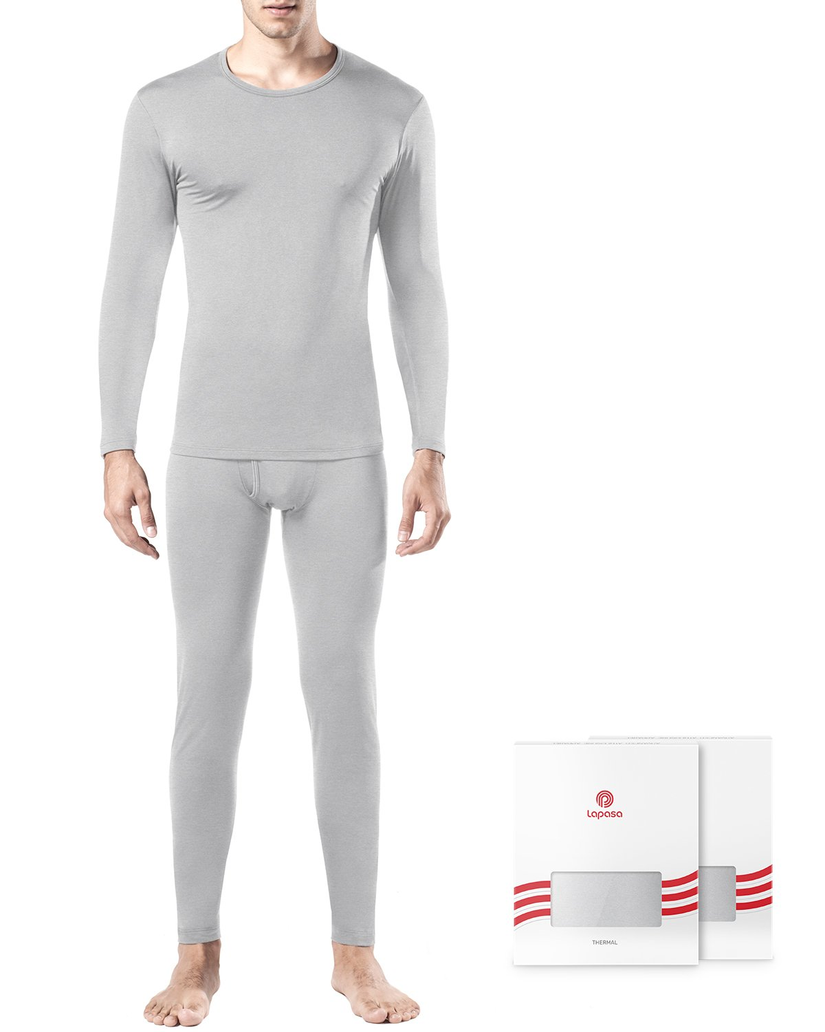 2b32bd36d5b LAPASA Men s Thermal Underwear Long John Set Fleece Lined Base Layer Top  and Bottom M11   Thermal Underwear   Clothing
