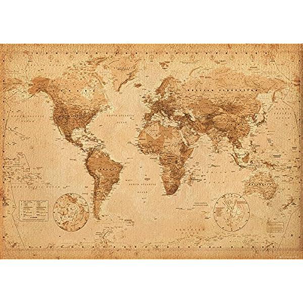 GB Eye Ltd Antique Style - Mapa del Mundo, Poster Gigante, 100 x 140 cm: Amazon.es: Hogar