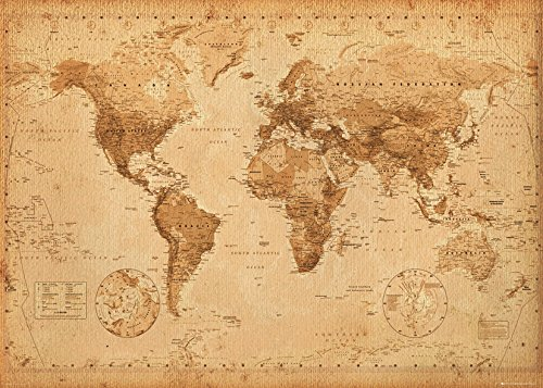 Old world map in vintage look xxl wall art in hd poster 140cm x 100 gb eye world map antique style giant poster multi colour gumiabroncs Gallery