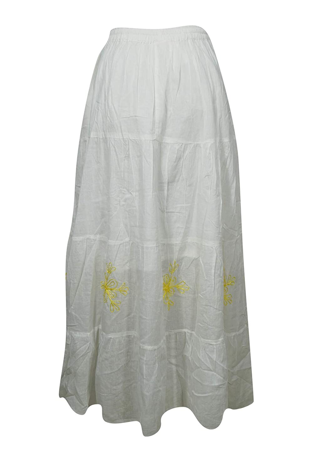 7cddb02eed Mogul Interior Women's Peasant Maxi Skirt White Cotton Frilly Hippie Long  Skirts M at Amazon Women's Clothing store: