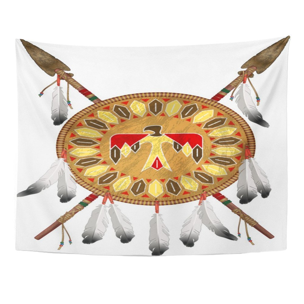 Emvency Tapestry Mandala 60x80 inch Home Decor Tribal Native American Indian Shield And Spears Bow Sioux America Feather Arrow For Bedroom Living Room Dorm