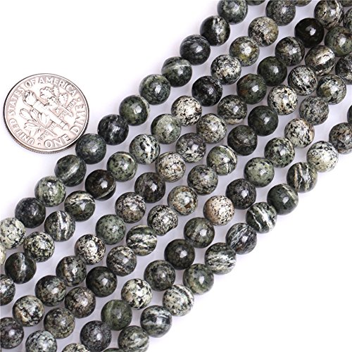 GEM-inside Natural 6mm Dark Green Zebra Jasper Gemstone Handmade Semi Precious Round Loose Beads for Jewelry Making Jewelry Beading Supplies for Women