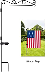 "HOOSUN Garden Flag Stand, Premium Garden Flag Pole Holder Black Metal Powder-Coated Weather-Proof Paint, 37.9"" H x 15.7"" W for Outdoor Garden Lawn Without Flag"