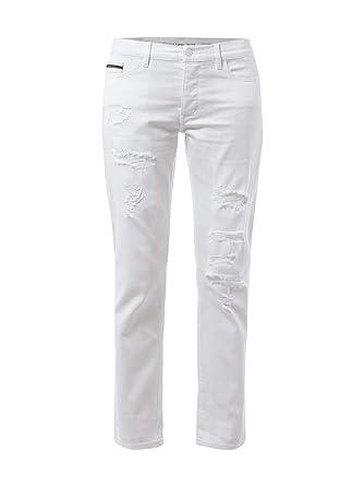 Calvin Klein Jeans Slim Boyfriend Fit Coloured Jeans Damen Hose Weiss   Amazon.de  Bekleidung f1aae153bd4