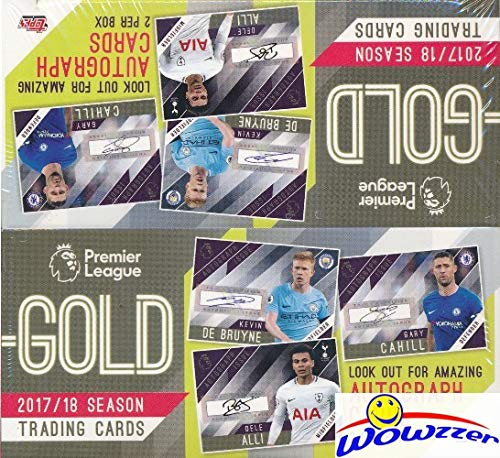 (2018 Topps English Premier League Soccer HUGE GOLD Factory Sealed HOBBY Box with 2 AUTOGRAPHS & 120 Cards! Look for Autos of Kevin De Bruyne, Joe Hart, Cary Cahill, Michael Carrick & More! WOWZZER!)