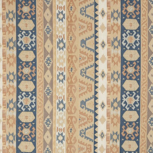 Sand Beige Tan and Coral Blue Vintage Look Aztec Cabin Southern Chenille Upholstery Fabric by the yard