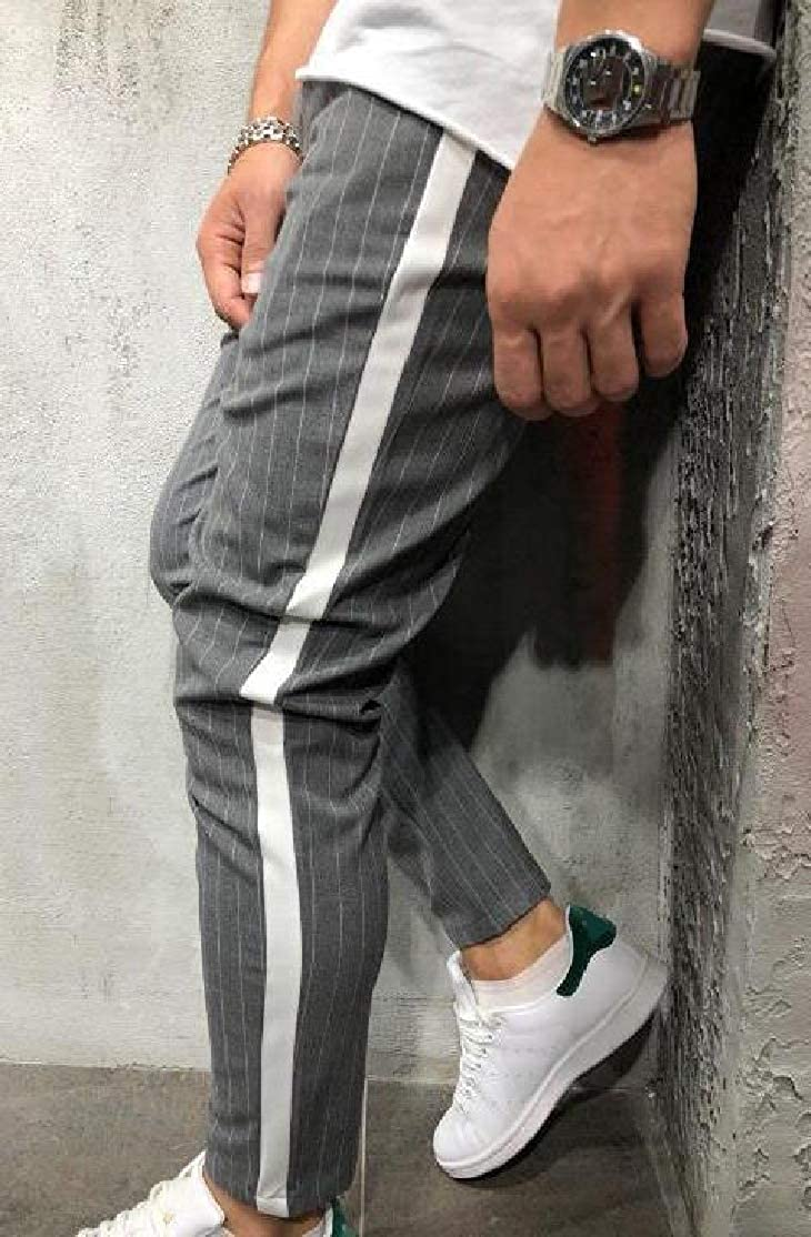 Comaba Mens Mid-Rise Silm Fit Pencil Pants Cozy Striped Casual-Pants