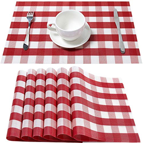 Buffalo Check Placemats Red and White Table Mats Set of 6 Non-Slip Washable Place Mats Heat Resistant for Kitchen Dining Table (Red and White Checked)