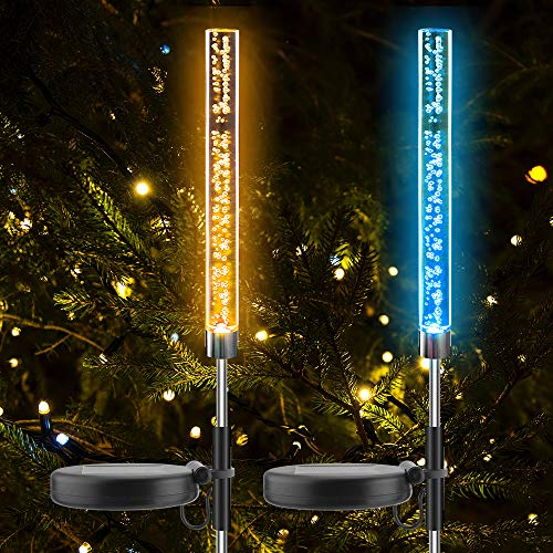 Solar Acrylic Bubble Lights Garden Lawn Stakes Decoration Solar Outdoor RGB Color Changing Christmas Party Camping Tube Light Satke Solar Powered for Patio Backyard Pathway Decoration Landscape 2PCS