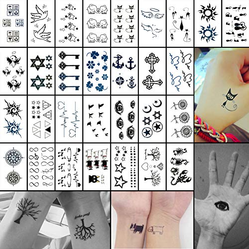 Oottati Small Cute Temporary Tattoos Kit - 30 Sheets 100+ Black Cat Bird Eye Compass Star Anchor Cross Flower Tree Key for Kids -