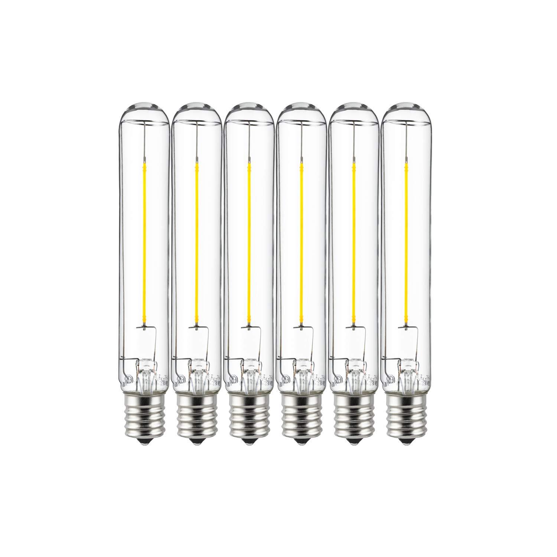 Warm White 25W Equivalent Sunlite 81074 LED T6 Filament Light Bulb 2-Watt Dimmable Tube Lightbulb 1 Pack 27K