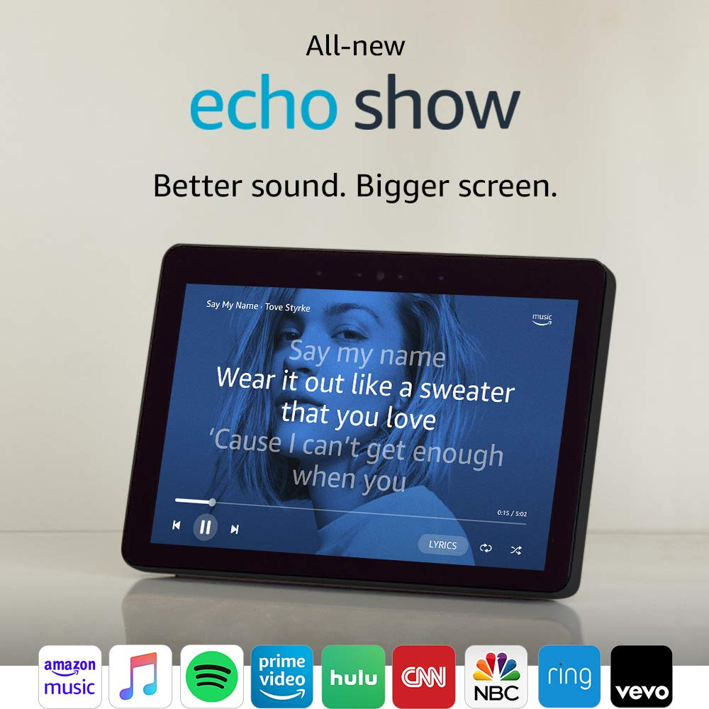 All-new Echo Show (2nd Gen) – Premium sound and a vibrant 10.1 HD screen - Charcoal