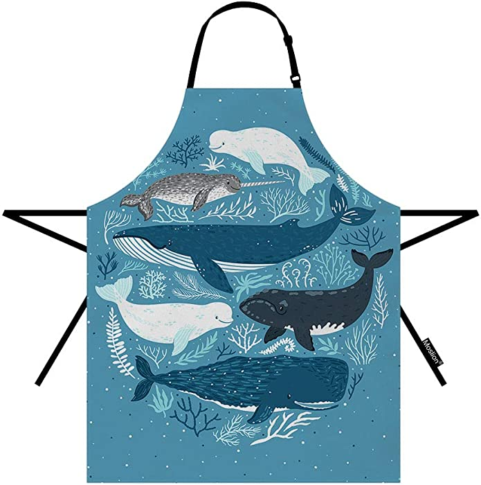 Moslion Fish Apron 31x27 Inch Nature Nautical Ocean Sea Seaweed Coral Whale Shark Dolphin Kitchen Chef Waitress Cook Aprons Bib with Adjustable Neck for Women Men Girls Blue