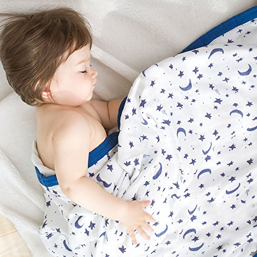 CLERANCE Sale Muslin Stroller Blanket - Starry Sky Print Bamboo Summer Blanket for Toddler - Oversized 47
