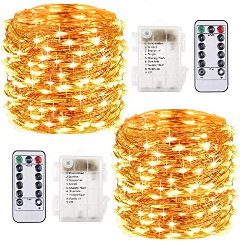 2 Pezzi Stringa Luci LED – 10M/33FT Catene Luminose 100LED Luci Natalizie Batteria Impermeabile IP65, Esterno/Interni Lucine Decorative per Balcone Giardino Feste Natale (Bianco Caldo)