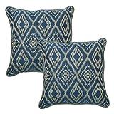 hampton bay outdoor pillow - 18 in. Ikat Spa Outdoor Toss Pillow with Welt (2-Pack)