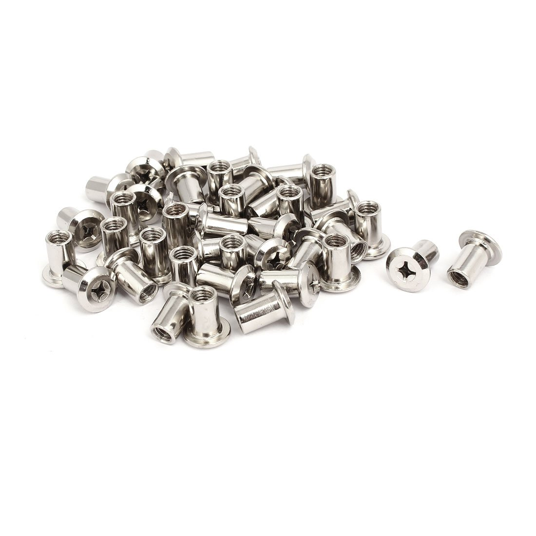 uxcell M6x12mm Female Thread Phillips Head Barrel Nut Furniture Fittings 40pcs