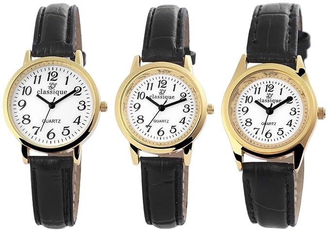 Classique reloj con imitación de cuero de pulsera para mujer correa de cuero Classique analógico quartz