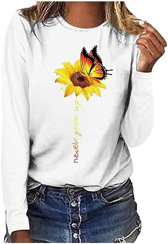 Casual Mujer Camisetas con Estampado de Girasol Mariposa Grandes Manga Blusa y Camisa de Manga Larga: Amazon.es: Ropa y accesorios