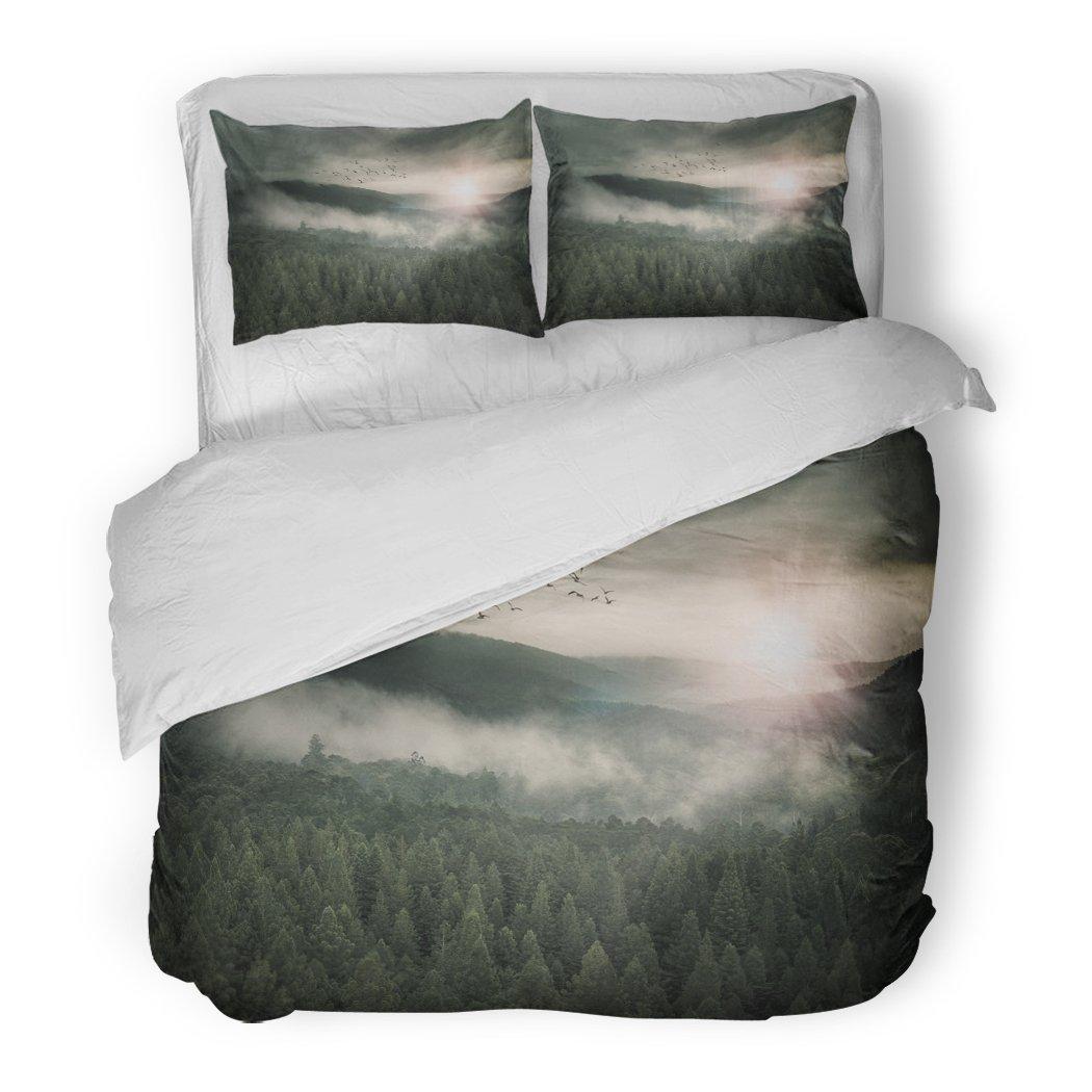 SanChic Duvet Cover Set Green Movie Epic Fantasy Landscape Sci Decorative Bedding Set with Pillow Sham Twin Size
