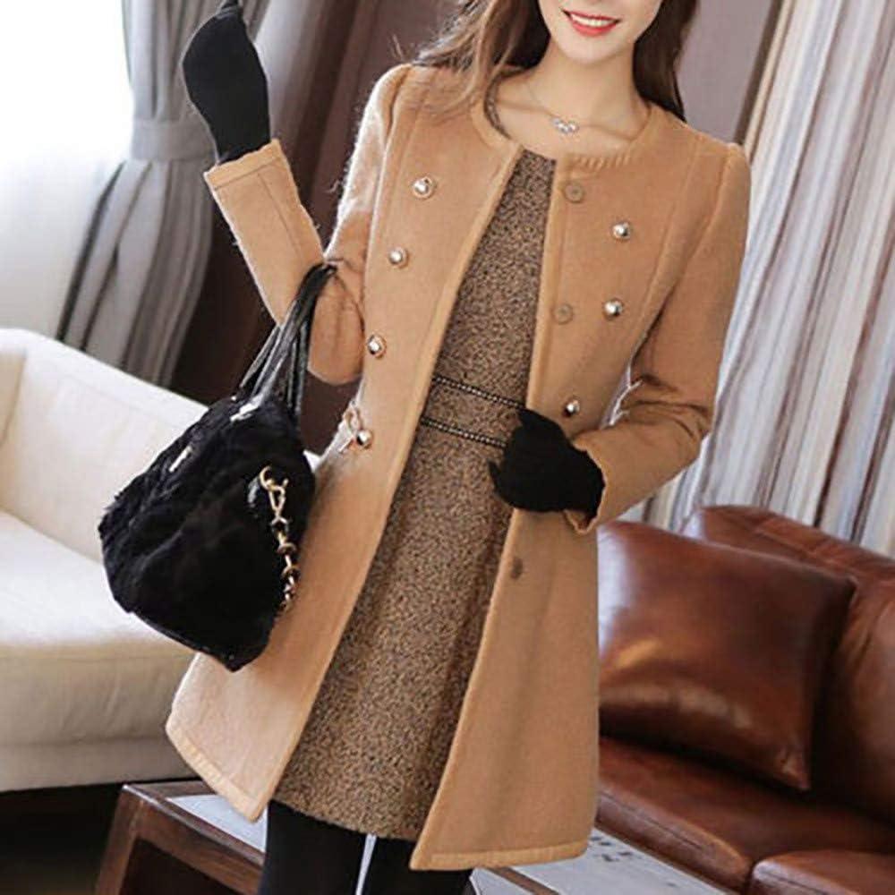 WEUIE Womens Jackets Winter Women Warm Outwear Wool Lapel Trench Parka Coat Jacket Overcoat StylsihWi