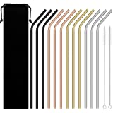 Reusable Stainless Steel Straws, Blingco Metal Drinking Straws Set of 12 Extra Long 10.5'' With 2 Brushes, FDA Approved Reusable Smoothies Straws For 20/30oz Tumblers Cold Beverage (Multicolor)