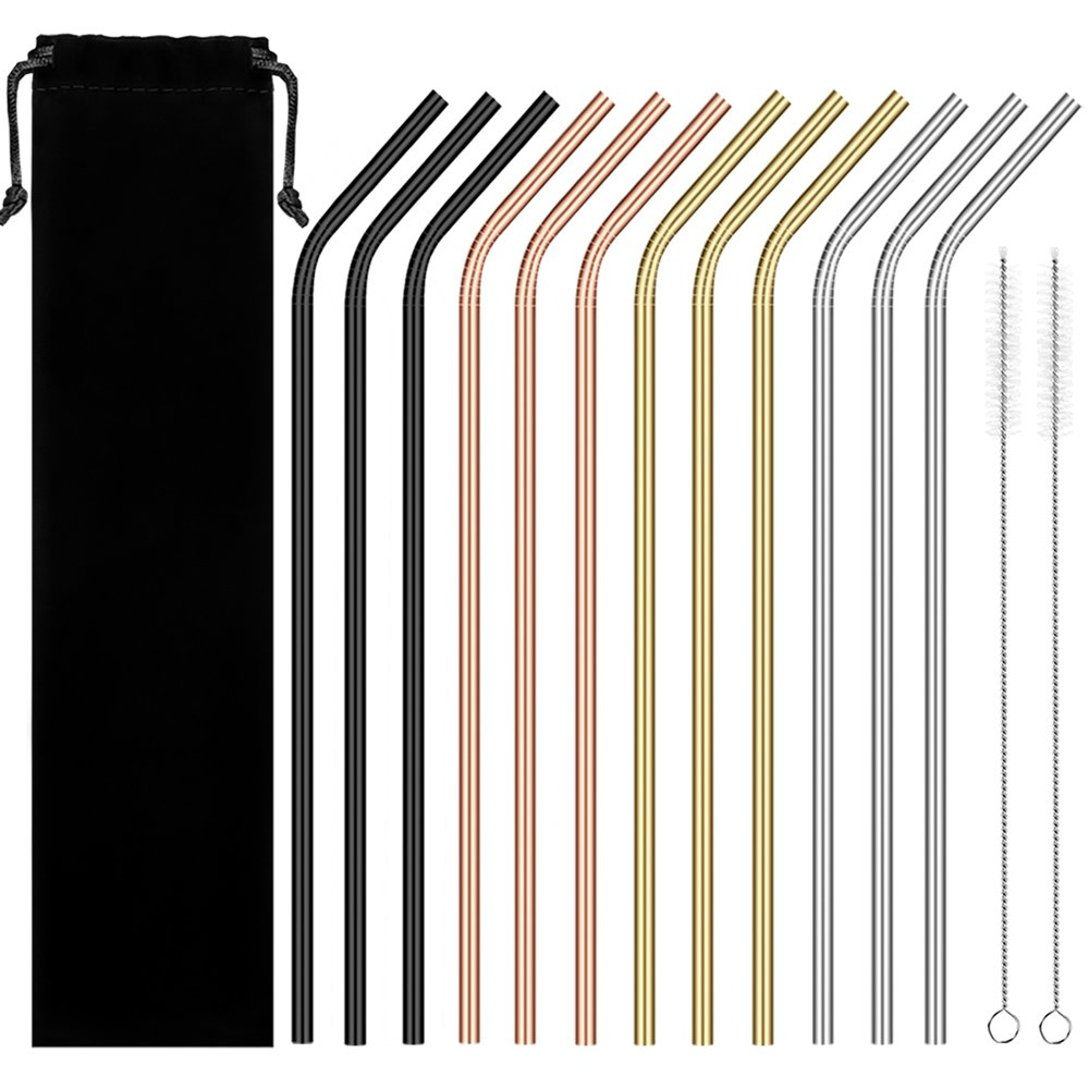 Reusable Stainless Steel Straws, Blingco Metal Drinking Straws Set of 12 Extra Long 10.5'' With 2 Brushes, FDA Approved Reusable Smoothies Straws For 20/30oz Tumblers Cold Beverage (Multicolor) by Blingco