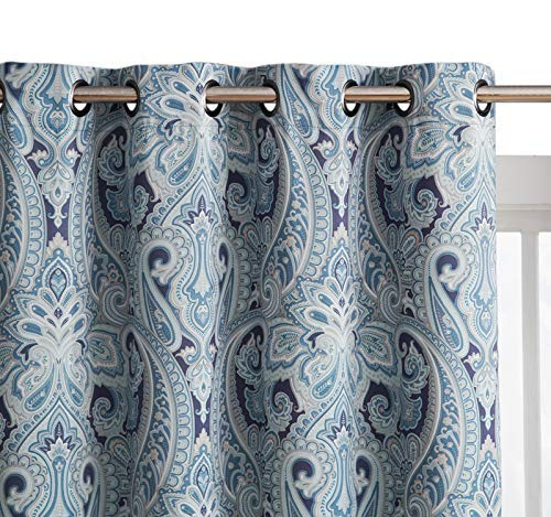 HLC.ME Paris Paisley Print Damask Thick Thermal Insulated Energy Efficient Room Darkening Blackout Grommet Top Window Curtain Panels for Bedroom - Set of 2 - 50