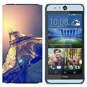TECHCASE---Cubierta de la caja de protección para la piel dura ** HTC Desire Eye ( M910x ) ** --Torre Eifel cielo la noche de París Francia