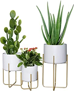 Floor Standing Planters with Metal Stand Pack of 3, White Plant Pot with Gold Metal Stand, Matches Mid Century Modern Living Rooms, Container Box for Patio, Deck, Porch, Garden, Lawn(White)