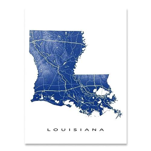 Amazon Com Louisiana Map Wall Art Print 8x10 Louisiana Poster Prints 24x36 Handmade Topographic Louisiana Art Wall Decor La State Maps Louisiana Gifts For Home By Maps As Art Handmade