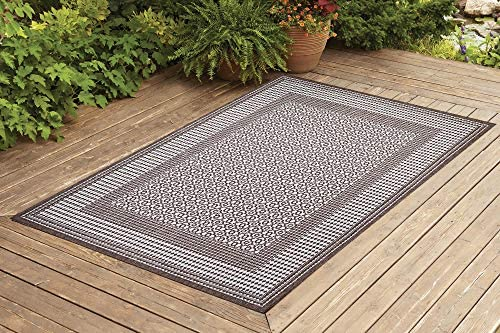Benissimo Indoor Outdoor Rug Tile Collection, Natural Sisal Woven and Jute Backing Area Rugs for Living Room, Bedroom, Kitchen, Entryway, Hallway, Patio, Farmhouse Decor 5×7, Dark Brown
