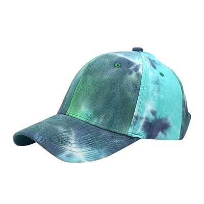 Sttech1 Womens Tie Dye Printed Baseball Cap Peaked Cap Sun Hat Sun Beach Hat Blue: Clothing
