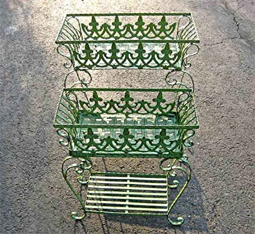 Set of 2 Victorian Plant Stands Wrought Iron Antiqued Mint Finish by SERENDIPPITY
