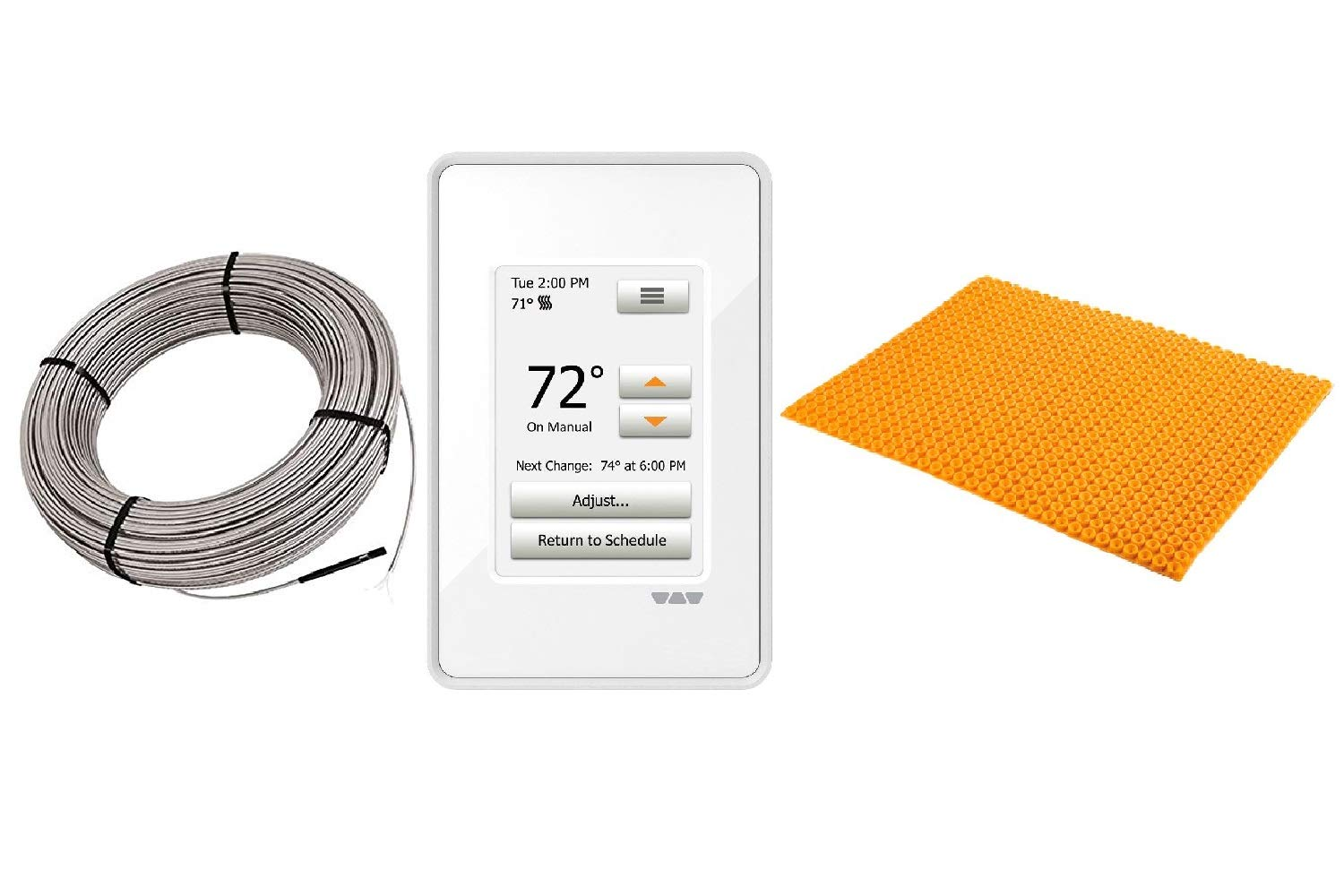 Schluter Ditra Heat E Radiant Floor Heating Kit Touch Screen Thermostat + Membrane + Heating Cable (240V 38 SqFt Heat Kit)