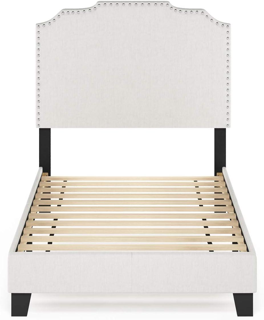 Furinno Nadia Nailhead Trim Bed Frame, Twin, Gray