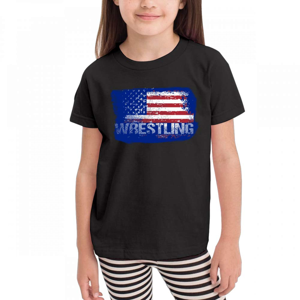 Antonia Bellamy Wrestling American Flag Distressed Children's Short Sleeve Crew Neck Graphic Tees Tops by Antonia Bellamy