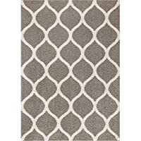Area Rugs, Maples Rugs [Made in USA][Cassie] 7 x 10 Non Slip Padded Large Rug for Living Room, Bedroom, and Dining Room - Greystone